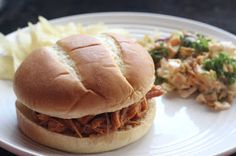 Easy Slow Cooker BBQ Chicken Sandwiches.