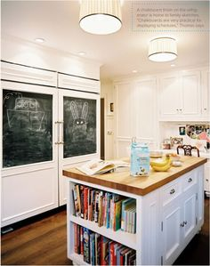 I like the cookbook storage area and the chalkboard area. Great idea for next kitchen.