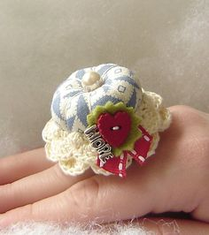 Love And Hope Treasured Ring Pincushion by TheFinickyFrog on Etsy