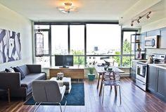 schönes Wohnen im Loft oder Studio wohnzimmer esszimmer maßstab