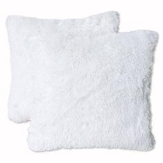 Thro Chubby Reversible Faux Fur Throw Pillows In Bright White (set Of 2)
