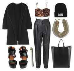 """ragged."" by goldiloxx ❤ liked on Polyvore featuring Vince, Givenchy, CÉLINE, Roberto Cavalli, The Ragged Priest, multi-strand necklaces, platform heels, chain necklaces, leather pants and chain link necklaces"