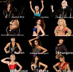 the lovely ladies of rupaul's drag race season 2.  those who have sashayed away: shangela, nicole paige brooks, mystique summers madison, & sonique.  my favourite would have to be jujubee. then tatiana.  click the image to see it in better detail.
