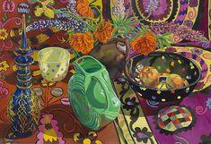 janet fish - Blue Decanter, Polka-Dot Bowl, Suzani, 2009
