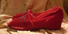 Fabulously Glamourous Vintage 1950s Oomphies After Five Red Velvet Slippers 7.5 by RecyclingTheBlues on Etsy https://www.etsy.com/listing/534391421/fabulously-glamourous-vintage-1950s