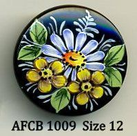 Hand painted Czech glass button black with blue and yellow flowers - size 12, 27mm AFCB 1009 on Etsy, $10.00