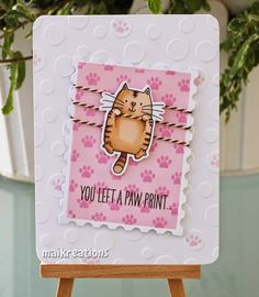 """maikreations: You left a paw print. Material / supplies: Stempel / stamps: """"I knead you"""" & """"Paw Print Background"""" von My Favorite Things Stanzen / dies: """"Postage Stamp Stax"""" von My Favorite Things"""
