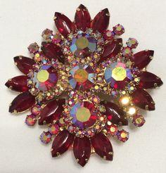 Vintage Large Juliana Red Navette Rhinestone Brooch Pin Pendant Aurora Borealis