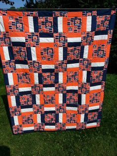 Need ideas for a sports/football theme quilt-auburn-done. Football Quilt, Baseball Quilt, Quilting Tutorials, Quilting Projects, Quilting Designs, Diy Quilting, Sewing Projects, Quilting Ideas, Sewing Ideas
