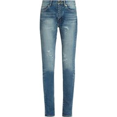 Saint Laurent Mid-rise distressed skinny jeans ($534) ❤ liked on Polyvore featuring jeans, pants, bottoms, denim, calças, destructed skinny jeans, skinny jeans, destroyed jeans, blue ripped skinny jeans and ripped denim jeans