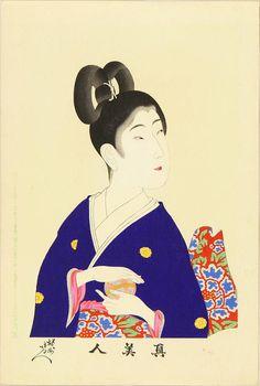Toyohara Chikanobu (Japanese: 1838-1912) - A beauty holding a ball (1897)