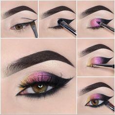 Eye Makeup Steps, Makeup Eye Looks, Smokey Eye Makeup, Cute Makeup, Eyeshadow Looks, Gorgeous Makeup, Eyeshadow Makeup, Makeup Brushes, 80s Makeup