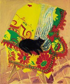 Cat on a Rug | oil painting, 1969 | Elizabeth Violet Blackadder