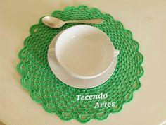 Tecendo Artes em Crochet: Sousplat Verde com Receitinha e Gráfico!