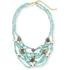 Alexis Bittar Beaded Multi-Strand Turquoise Howlite Bib Necklace (870 BRL) ❤ liked on Polyvore featuring jewelry, necklaces, gold, multi strand beaded necklace, bib necklace, beaded bib necklace, turquoise spike necklace and multiple chain necklace