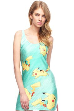 ROMWE | Cut-out Pikachu Print Green Dress, The Latest Street Fashion #RomwePartyDress. #Pokemon #Geeky