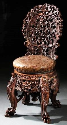 A VERY FINE CONTINENTAL CARVED WALNUT PIANO STOOL late century, of adjustable height, with screw turned leather seat, allover pierced scrolling grape leaf and fruit carved cluster back above a seat raised on four claw footed legs. Victorian Furniture, Unique Furniture, Wooden Furniture, Vintage Furniture, Furniture Decor, Furniture Design, Inexpensive Furniture, Furniture Logo, Outdoor Furniture