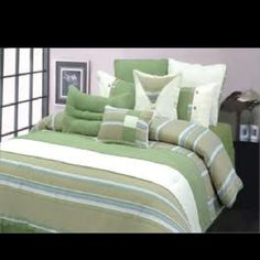 Buy Alexander Julian Bedding Palm Beach Stripe 10 Piece King Comforter Set love the color combination. Queen Comforter Sets, Queen Size, Pillow Shams, Palm Beach, Decorative Pillows, Mattress, Comforters, Bedroom Decor, Blanket