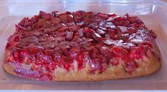 Marshmallow Rhubarb Upside Down Cake Recipe.   Liked this better than the upside down cake with whipping cream.  Got a similar recipe from an old Better Homes & Gardens cake book.  It uses 1/2 c. brown sugar instead of regular and regular mini marshmallows.