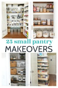 pantry shelving Find amazing ideas to organize your small pantry with these 25 small pantry makeovers. There are pantry ideas for all types of spaces. Small Pantry Cabinet, Small Pantry Closet, Small Pantry Organization, Built In Pantry, Pantry Shelving, Pantry Ideas, Organization Ideas, Diy Kitchen Remodel, Kitchen Makeovers