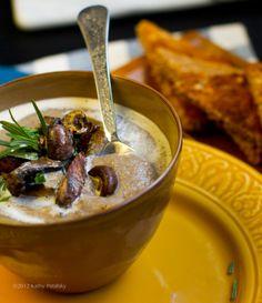 no-cream of mushroom soup w/ rosemary [creaminess comes from cauliflower puree] http://kblog.lunchboxbunch.com/2012/11/no-cream-of-mushroom-soup-rosemary.html