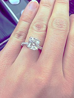 Engagement Ring- love the diamond band with a huge solitaire! Description from pinterest.com. I searched for this on bing.com/images #CushionCutDiamonds