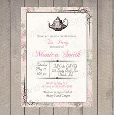 Bridal Shower Invitation - Tea Party, Vintage, Elegant, Pink, Roses, Tea Pot, Wedding Shower - 024