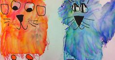 Draw face, ears and paws with black sharpie, use washable markers to add warm and cool colored fur, add water to turn washable markers into paint. Kindergarten Art Lessons, Art Lessons Elementary, Color Art Lessons, Arte Elemental, Animal Art Projects, 2nd Grade Art, 2 Kind, Warm And Cool Colors, Ecole Art