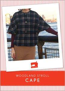 digital woodland stroll cape sewing pattern. $14 for pattern-- use purple houndstooth fabric!