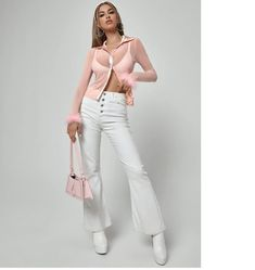It's really nice equality, super soft and flows. very comfy and flattering. #blouse #sheer Womens Trendy Tops, Fashion News, White Jeans, Faux Fur, Khaki Pants, Bra, Blouse, Shopping, Collection