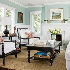 Love the misty-blue/green walls with the white wainscoting and molding.  Good colors all around.