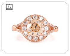 Beholden • The Dreamy Luna This delightful + delicious, creamcicle of a LUNA engagement ring was custom made with a dreamy pinky-peach Champagne Diamond in Rose Gold with an expanded Diamond pavé...