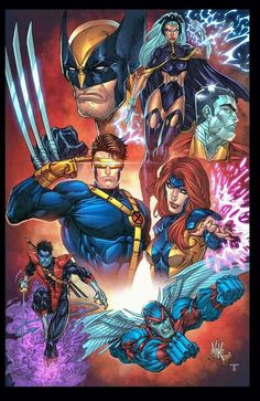The X-Men: Cyclops, Phoenix, Colossus, Nightcrawler, Storm, Wolverine, & Archangel