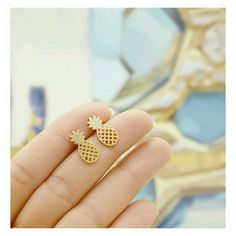 GP pineapple studs Gold plated over stainless steel handmade  Jewelry Earrings