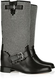 CHRISITSN LOUBOUTIN Akhalil 70 Suede and Leather Biker Boots