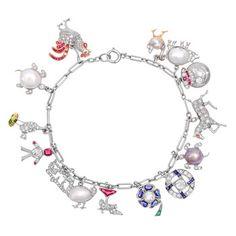 Estate Betteridge Collection Gem-Set Platinum Charm Bracelet