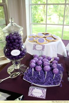 trendy ideas for wedding cakes vintage purple dessert tables Purple Dessert Tables, Purple Candy Buffet, Purple Desserts, Purple Party, Purple Wedding, Trendy Wedding, Wedding Ideas, Drinks Wedding, Buffet Wedding