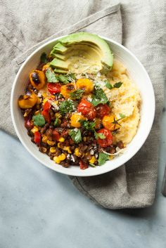 Creamy Polenta with French Lentils + Vegetables: