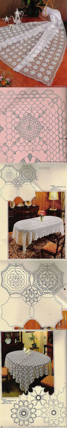 KUFER with artistic handicraft: 1000 models - lace tablecloths, covers, bedspreads Crochet Doily Diagram, Granny Square Crochet Pattern, Crochet Stitches Patterns, Crochet Chart, Crochet Squares, Crochet Granny, Filet Crochet, Irish Crochet, Crochet Motif