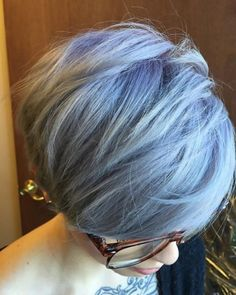 Gorgeous metallic pastel by @rosedoeshair!  Started with natural ash level 8/9, pre-lightened to a cool Level 10. Formula A: 1 oz. #KenraColor 8SM + 1/2 oz. 8VM + 6 inches of Violet Booster + 10-vol. Formula B: 1 1/2 oz. 8SM + 10-vol.  1. Apply Formula A roughly 2 inches out at the root area, using your brush to backcomb the hair while you apply to create a blur effect. 2. Apply Formula B, blending into Formula A, and pull through the ends. 3. Use a wide-tooth comb to continue to melt th...