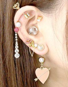 【ボディピアス(軟骨/へそピアスなど)通販専門店 凛】 Jewelry Tattoo, Ear Jewelry, Cute Jewelry, Jewellery, Ear Piercings Chart, Cute Ear Piercings, Piercing Tattoo, Body Art Tattoos, Earrings