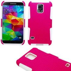 Amazon.com: myLife (TM) Rose Pink and White - Perforated Mesh Series (2 Layer Neo Hybrid) Slim Armor Case for the NEW Galaxy S5 (5G) Smartph...