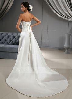 A-Line/Princess Sweetheart Chapel Train Satin Wedding Dress With Ruffle Beading (002022673)