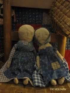 Fat Hen Farm - Primitive Rag Doll Pair - Early Homespun & Calico #NaivePrimitive