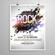 Poster with paint stains for a rock party Free Vector