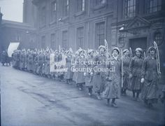 First World War - Women Workers of Loughborough: Women marching in line at recruiting fair for Instructional Factory and Technical Institute: Women's Day 1917 ; What Is Today, Lest We Forget, Woman Standing, Leicester, Wwi, Ladies Day, Foxes, First World, Old Things