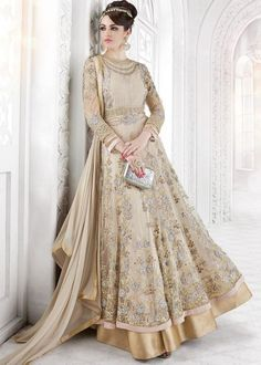 Beige gold anarkali, Anarkali suits, Simple anarkali, Bridal anarkali, Bridesmaid anarkali, Anarkali dress, Lehenga anarkali, Wedding anarkali, Jacket anarkali Source: Panash India #Anarkali #AnarkaliSuits #IndianFashion #Indian