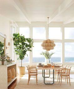 Coastal dining room with a modern twist