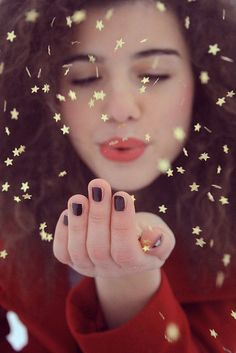 I've always used glitter for shots like this, but it would be fun to try bigger chunks of stars. --Beba
