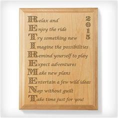 Kate Posh - 2015 Enjoy Retirement Wooden Plaque